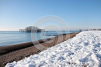 Pier seaside snow architecture winter