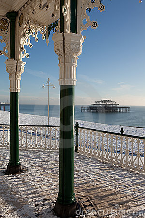 Pier seaside snow architecture winter