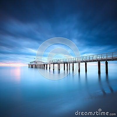 Free Pier Soft Water Long Exposure Lido Camaiore Versilia Tuscany Ita Royalty Free Stock Image - 38402166