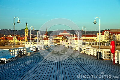 Pier in Sopot at morning Stock Photo