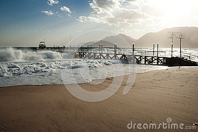 Pier in stormy seas, Nuweiba Egypt