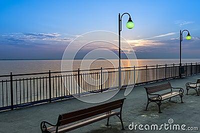 Pier at sundown in Miedzyzdroje, Poland