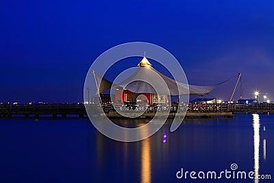 Pier at sunrise twilight