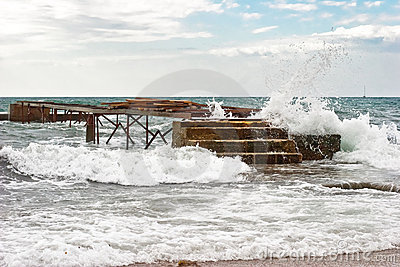Pier in the waves