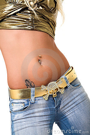 Free Pierced Belly Ring. Royalty Free Stock Photography - 2182397