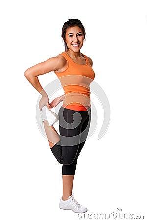 Pierna que estira ejercicio de la aptitud