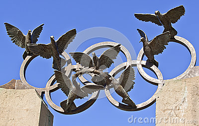 Pierre de Coubertin commemorative statue at Centennial Olympic Park, Atlanta Editorial Stock Photo