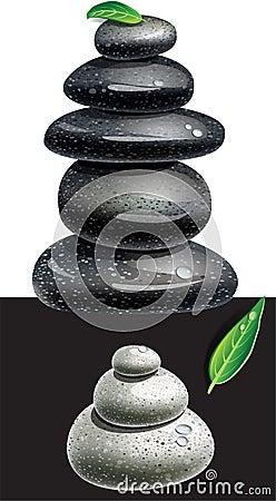 Pierres équilibrées de zen