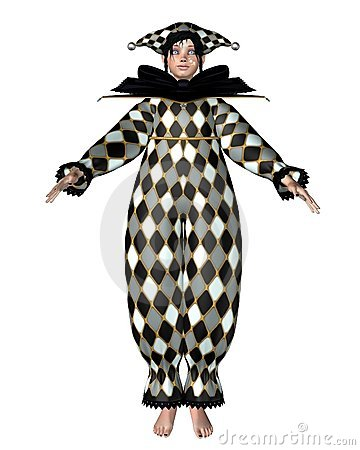 Pierrot Clown Doll - Harlequin checks