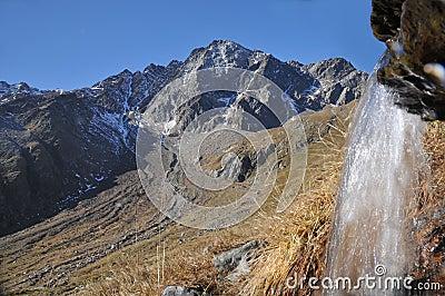 Pietra Rossa with small waterfall, Stelvio NP