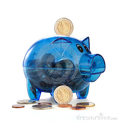Free Pig A Coin Box With Coins Stock Photography - 23151552