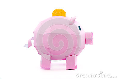 Pig bank with coin