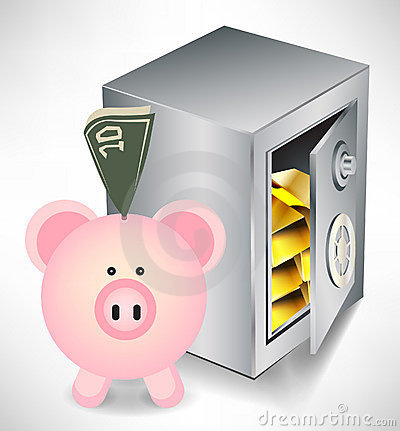 Pig bank with money and safe with gold