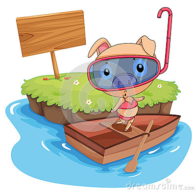 Pig and boat