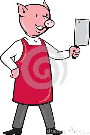 Pig butcher holding meat cleaver knife
