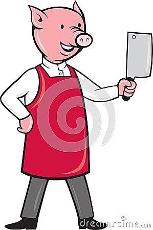 Pig butcher holding meat cleaver knife