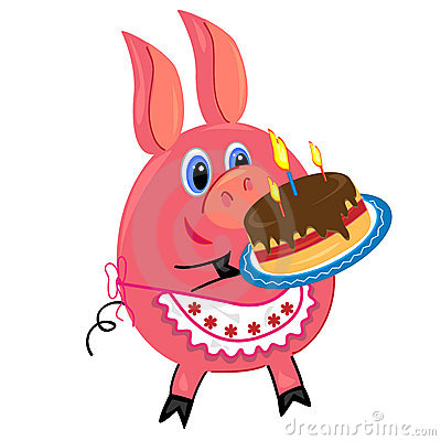 Pig with cake illustration.isolated character