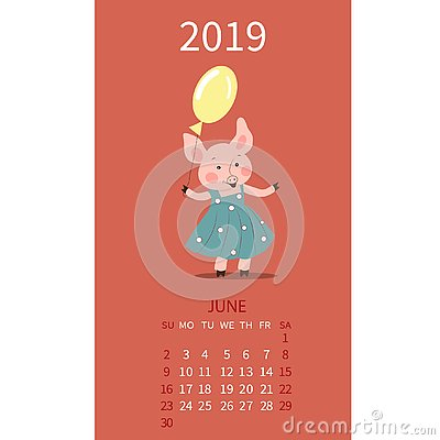 Pig Calendar For June 2019  Cute Month Calendar With Horoscope Sign