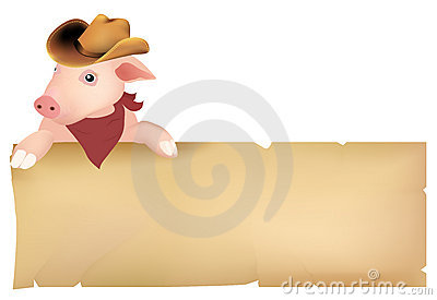 Pig with cowboy hat