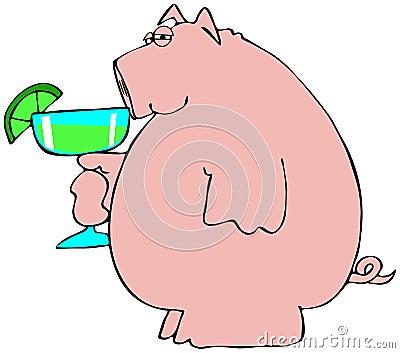 Pig drinking a Margarita