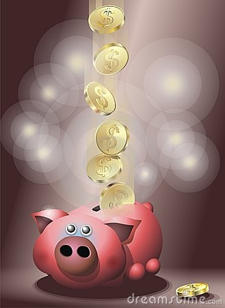 Pig with golden coins