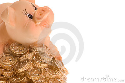 Pig on a heap of coins