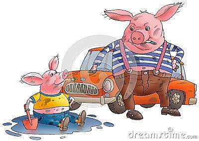 Pig and hog dirty.