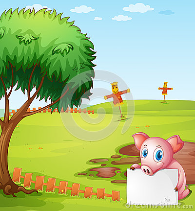 A pig holding an empty board at the farm