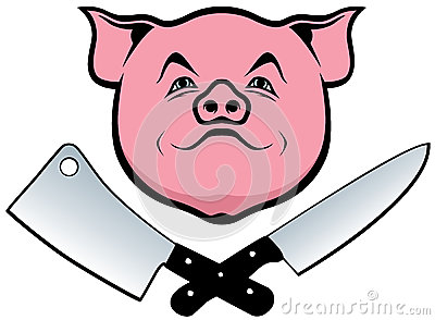 Pig, knife and cleaver