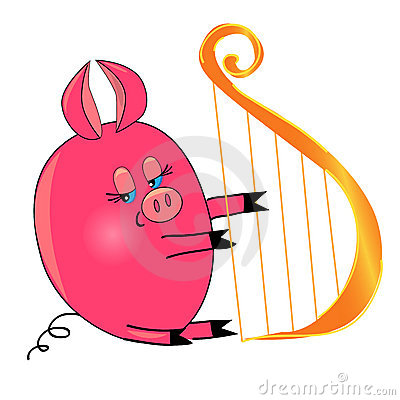 Pig playing musical instrument. isolated character