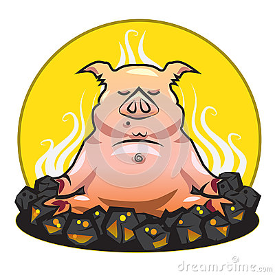 BBQ and grill illustration - The pork - yoga on a