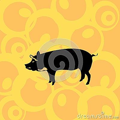 Pig on retro background