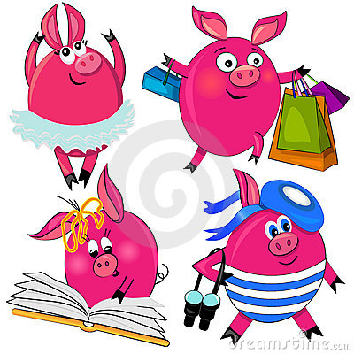 Pig set  illustration.cute animal isolated