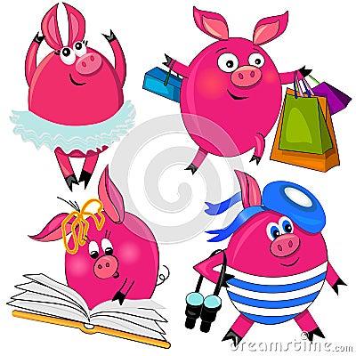 Pig set  illustration.cute animal isolated