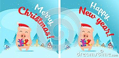 Pig in snow scene. Post card Vector Illustration