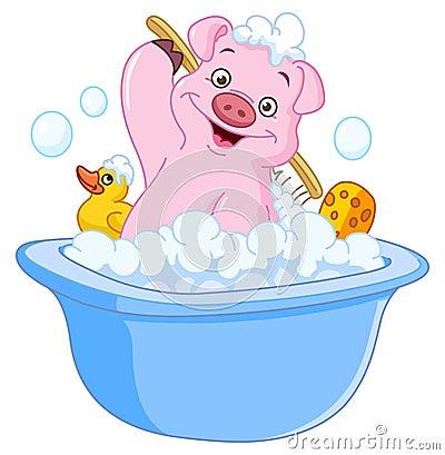 Free Pig Taking A Bath Royalty Free Stock Photos - 22912428