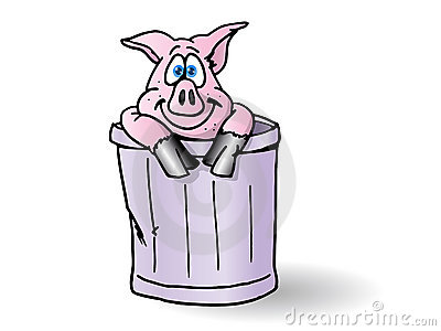 Pig in the trash can