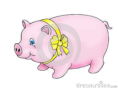 Pig using yellow ribbon