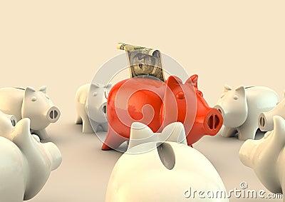 Piggy bank circle with a hundred dollar bill