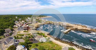 Pigeon Cove aerial view, Rockport, MA, USA stock video