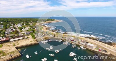 Pigeon Cove aerial view, Rockport, MA, USA stock video footage