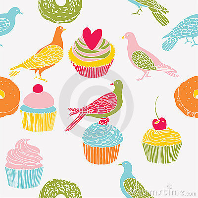 Pigeons, rolls and cakes print
