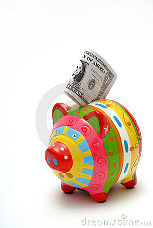 Piggy bank with American dollars