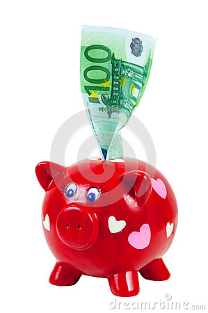 Free Piggy Bank And 100 Euro Banknote Royalty Free Stock Photography - 41037097