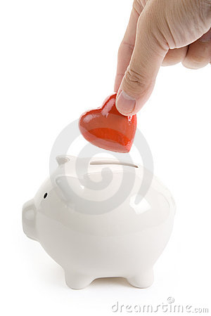 Free Piggy Bank And Red Heart Royalty Free Stock Photography - 11491307