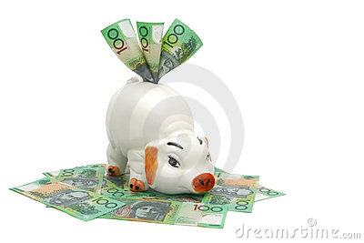 Piggy Bank with Aussie Money