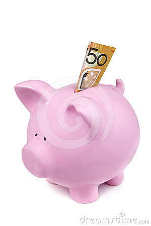 Piggy Bank with Australian Fifty Dollar Note