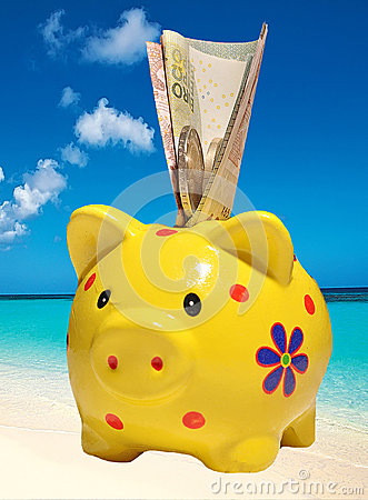 Piggy bank on a background of the sea