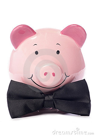 Piggy bank with black bow tie