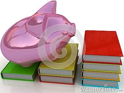 Piggy bank and book